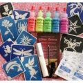 Amerikan Body Art Glitter Tattoo Kits - UV/Blacklight (5 Colors)