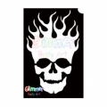 Glimmer Body Art Glitter Tattoo Stencils - Flaming Skull (10/pack)