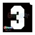 Glimmer Body Art Glitter Tattoo Stencils - Number 3 (10/pack)