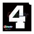 Glimmer Body Art Glitter Tattoo Stencils - Number 4 (10/pack)