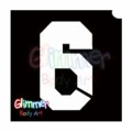Glimmer Body Art Glitter Tattoo Stencils - Number 6 (10/pack)
