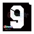 Glimmer Body Art Glitter Tattoo Stencils - Number 9 (10/pack)